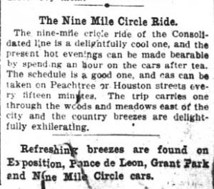 Raitiovaunureittiä mainostava advertoriaali vuodelta 1896 Atlanta Constitution -lehdestä.